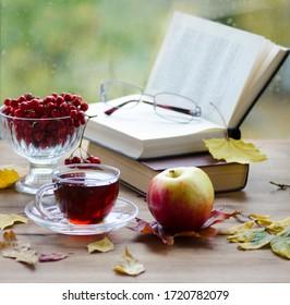 Beautiful Autumn Composition with Cup of Hot Tea, Ripe Fruits, Open Books and Colorful Foliage on Rustic Wooden Table Outdoors with Cozy Autumn Trees or Park Background