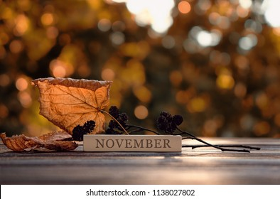 """beautiful autumn composition. autumn leaves and the inscription """"November"""" on  rustic wooden background.  concept of the autumn season. soft selective focus"""