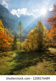Beautiful autumn day in the Vrata valley in the Julian Alps mountains