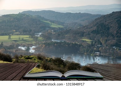 Beautiful Autumn Fall landscape image of view from Gummers How down onto Derwent Wter in Lake District coming out of pages of open story book