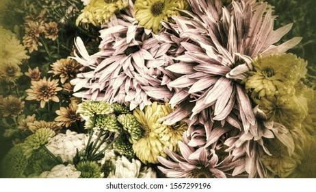 Beautiful autumn flower bouquet, pastel colours.