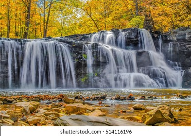 Beautiful autumn foliage at Brush Creek Falls in Camp Creek State Park near Princeton WV