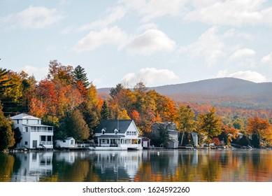 Beautiful autumn foliage of upstate Vermont