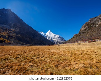Beautiful autumn landscape of Daocheng Yading National Park, Sichuan, China.