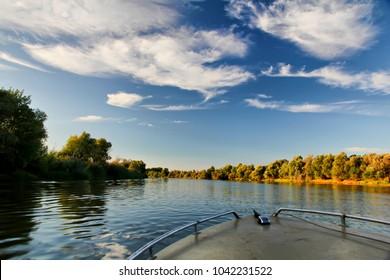 Beautiful autumn landscape Delta of the Volga. Astrakhan Region. Wild nature of Russia.