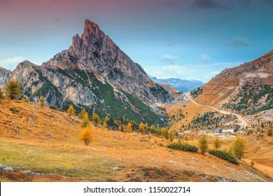 Beautiful autumn landscape, fantastic Falzarego alpine pass and high mountains, Dolomites, Italy, Europe