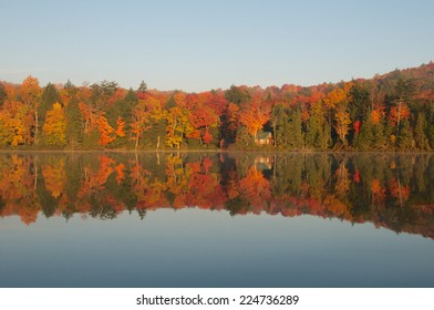 Beautiful autumn landscape highlights the colorful beauty of the changing leaves