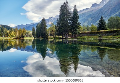 Beautiful autumn landscape with  Lake Gaillands  in the Alps. Chamonix, France.