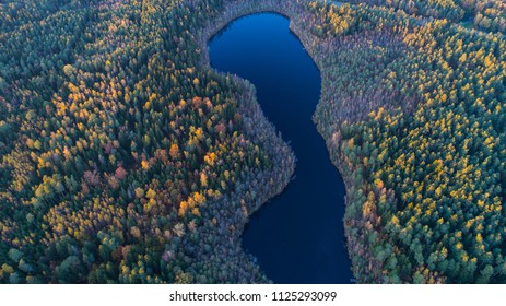 Beautiful autumn landscape of lake and trees