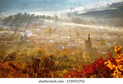 Beautiful autumn landscape from Maramures, Romania