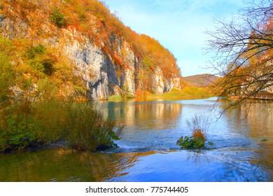 Beautiful autumn landscape in National park Plitvice lakes, Croatia