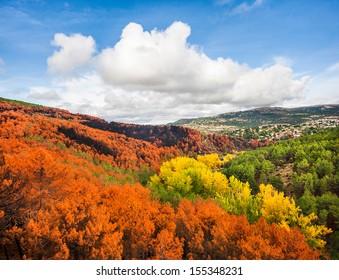 Beautiful autumn landscape near Madrid in the autonomous community of Castilla y Leon, Spain