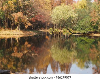 The beautiful autumn landscape with the reflection in water in the park