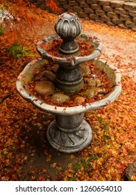 A beautiful autumn landscape scene of red Japanese Maple tree leaves covering a water fountain.