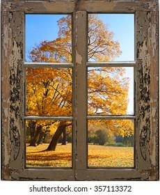 Beautiful autumn landscape through the window