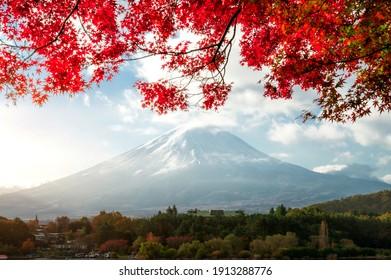 Beautiful autumn leaves Mountain Sign and Symbol of Japan Beautiful scenery of Fujisan Kawaguchiko Yamanashi, Japan
