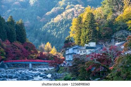 Beautiful autumn leaves and red bridge at Korankei , Aichi , Nagoya , Japan