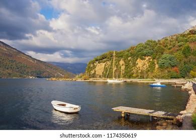 Beautiful autumn Mediterranean landscape. Montenegro,  Bay of Kotor, Adriatic Sea