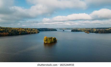 Beautiful autumn morning landscape of Finland lake.