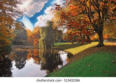 Beautiful autumn morning scene in Rotterdam city park, Netherlands