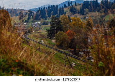 beautiful autumn mountain and small village on mountainside (Carpathian. Ukraine)
