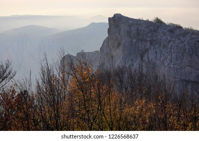 Beautiful autumn natural landscape in the Crimean mountains