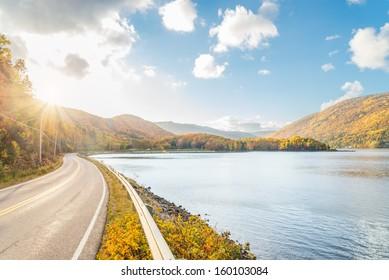 Beautiful autumn panorama  (Cape Breton, Nova Scotia, Canada)