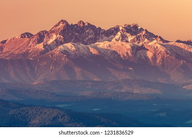 Beautiful autumn panorama over Pieniny to snowy Tatra mountains in the morning, Poland, Slovakia