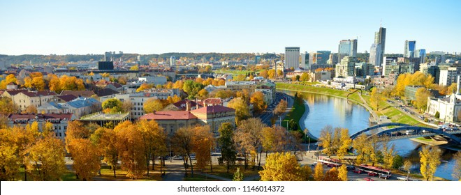 Beautiful autumn panorama of Vilnius old town taken from the Gediminas hill. Nice sunny October day in Lithuania's capital.