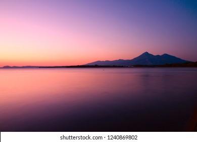 "Beautiful autumn scenery ""Lake Inawashiro and Mount Bandai of dusk"" of Fukushima"