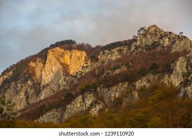 Beautiful autumn scenery in limestone mountains in Europe