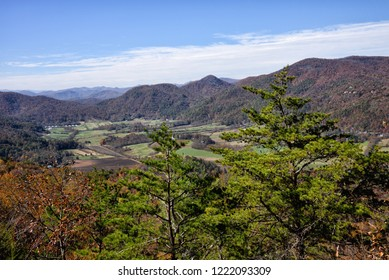 Beautiful autumn scenic view of the Blue Ridge Mountains of Appalachian Mountains from a rocky ledge on top of Black Rock Mountain in Mountain City Georgia USA.