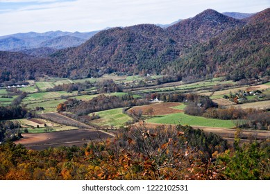 Beautiful autumn scenic view of the Blue Ridge Mountains of the Appalachian Mountains from a rocky ledge on top of Black Rock Mountain in Mountain City Georgia USA.