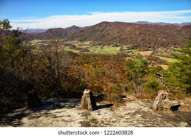 Beautiful autumn scenic view of the Blue Ridge Mountains of the Appalachian Mountains from a rocky ledge on Lookoff Mountain on top of Black Rock Mountain in Mountain City Georgia USA.
