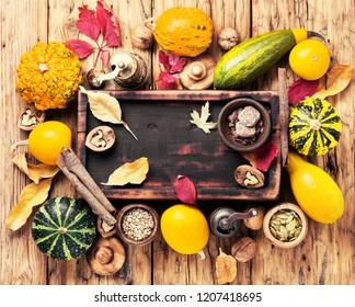 Beautiful autumn seasonal background with pumpkins .Autumn nature concept.Kitchen autumn concept