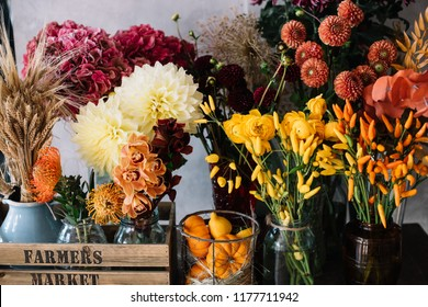 Beautiful autumn seasonal flowers at the florist shop: Dahlia, hydrangea, oriental peppers, pumpkins in orange and burgundy on the grey wall background