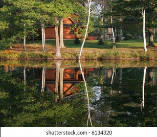 beautiful autumn setting with reflection