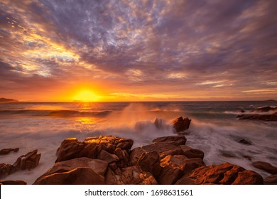 Beautiful autumn sunrise over Zenith Beach.Shoal Bay ,Port Stephens.East Coast of N.S.W. Australia.