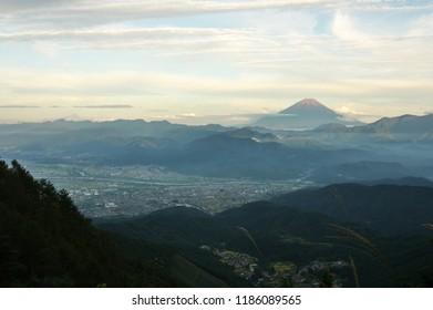 "Beautiful autumn sunset aerial view of Mt.Fuji from ""KUSHIGATA"" mountain path, Japan - Sep. 22, 2018."