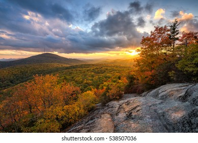 A beautiful autumn sunset from Beacon Heights overlook along the Blue Ridge Parkway in North Carolina