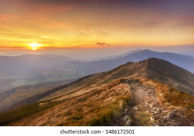 Beautiful autumn sunset in Bieszczady mountains - Poland