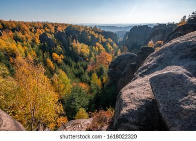 Beautiful autumn sunset in Broumovske steny, Adrspach rocks, Czech republic - Shutterstock ID 1618022320