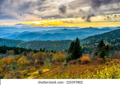 A beautiful autumn sunset over Cowee Mountain in the Great Smoky Mountains as seen from the Blue Ridge Parkway in North Carolina.