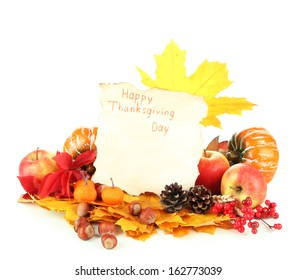 Beautiful autumn Thanksgiving Day composition, isolated on white