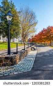 Beautiful Autumn trees along Park Avenue in historic Smithville Village in Burlington County New Jersey.