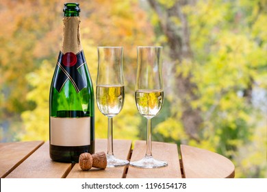 Beautiful autumn view of a champagne bottle with two glasses on a table outdoors.