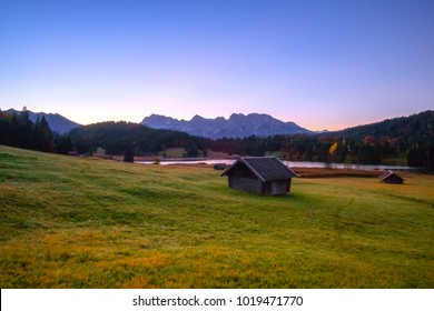 Beautiful autumn view near Wagenbruchsee (Geroldsee) lake of Bavarian Alps, Germany