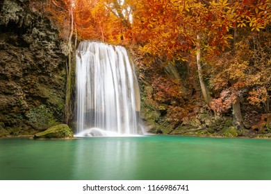 Beautiful autumn waterfall in deep  forest in Thailand. Erawan Nationnal Park, Kanchanaburi province,Thailand.