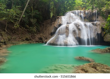 beautiful autumn waterfall in deep forest , Huay Mae Kamin, Kanchanaburi province, Thailand