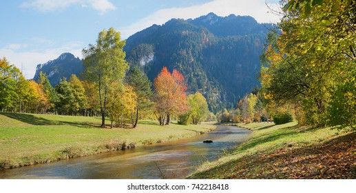 beautiful autumnal river landscape oberammergau, upper bavaria